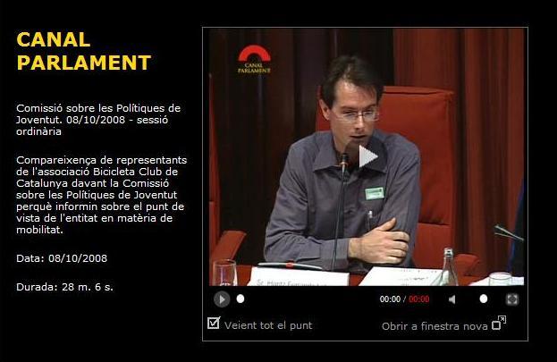 El BACC compareix per la bicicleta al Parlament de Catalunya