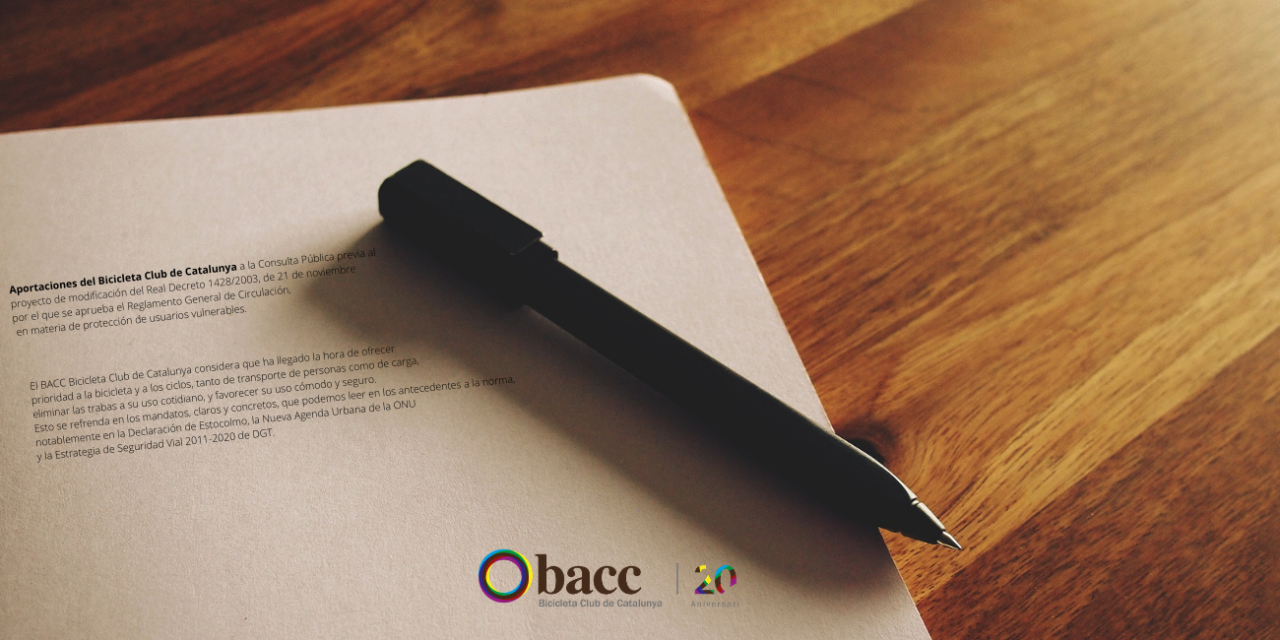 Aportaciones del BACC a la Consulta Pública del Reglamento General de Circulación y Ley de Tráfico y Seguridad Vial.