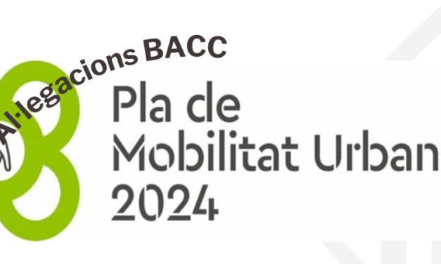 Nota de premsa – Al·legacions del BACC al Pla de Mobilitat Urbana 2024 de Barcelona